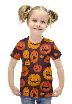 """Футболка с полной запечаткой для девочек """"Тыквы (Хэллоуин)"""" - хэллоуин, тыквы, pumpkin"""