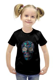 """Футболка с полной запечаткой для девочек """"Череп со стразами"""" - череп, арт, рисунок, череп со стразами"""