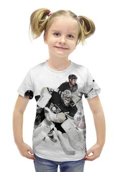 """Футболка с полной запечаткой для девочек """"Хоккей / Hockey"""" - спорт, хоккей, шайба, клюшка"""