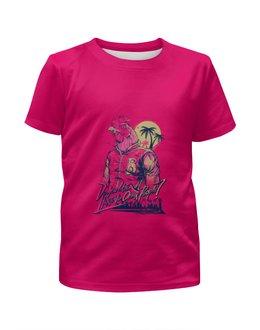 """Футболка с полной запечаткой для девочек """"Hotline miami"""" - новый год, 23 февраля, петух, hotline miami, хотлайн майами"""