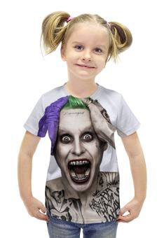 """Футболка с полной запечаткой для девочек """"Джокер"""" - joker, джаред лето, злодей, отряд самоубийц, suicide squad"""