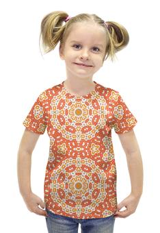 """Футболка с полной запечаткой для девочек """" sunny"""" - арт, узор, розовый, абстракция, медитация"""