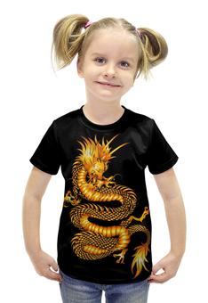"""Футболка с полной запечаткой для девочек """"Золотой дракон"""" - золото, дракон, фантастика, фэнтэзи"""