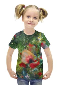"""Футболка с полной запечаткой для девочек """"Южный ветер"""" - цветок, картина, яркий, живопись, лепесток цветка"""