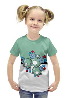 """Футболка с полной запечаткой для девочек """"PoKeMon Magneton"""" - pokemon, покемон, магнетон, magneton"""