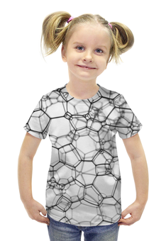 """Футболка с полной запечаткой для девочек """"Пузыри 3D"""" - 3d, пузыри"""
