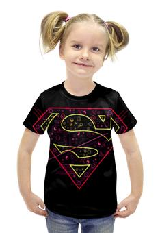 """Футболка с полной запечаткой для девочек """"Супермен"""" - надпись"""