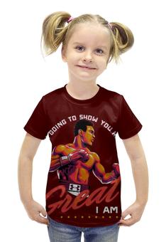 """Футболка с полной запечаткой для девочек """"Muhammad Ali"""" - спорт, бокс, muhammad ali, чемпион, мохаммед али"""