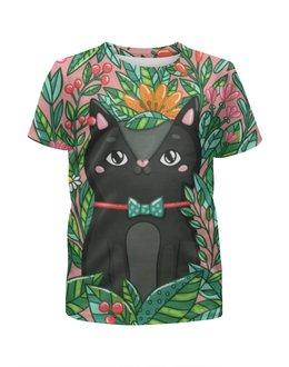 """Футболка с полной запечаткой для девочек """"Котик"""" - кот, цветы, котенок, природа, животное"""