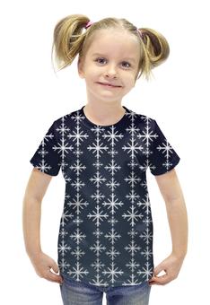 """Футболка с полной запечаткой для девочек """"Снежинки"""" - рождество, снежинки, merry christmas, новогодний подарок, 2017"""
