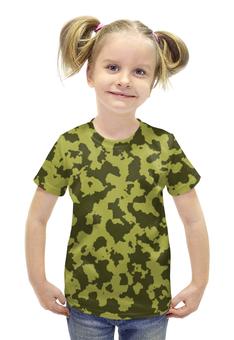 """Футболка с полной запечаткой для девочек """"Зелёный Камуфляж"""" - армия, камуфляж, camouflage, военный, зелёный камуфляж"""