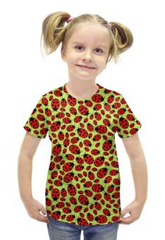 """Футболка с полной запечаткой для девочек """"Design ladybugs"""" - узор, насекомое, жук, божья коровка, ladybugs"""