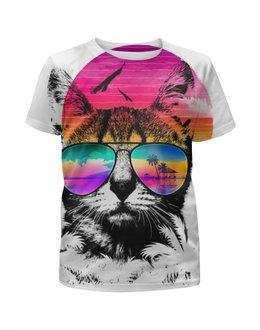 """Футболка с полной запечаткой для девочек """"Солнечный Кот"""" - кот, солнце, очки, пляж, пальмы"""
