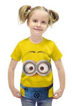 """Футболка с полной запечаткой для девочек """"Миньон"""" - жёлтый, миньон, гадкий я, minion"""