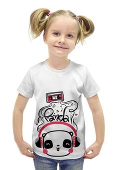 """Футболка с полной запечаткой для девочек """"Панда в наушниках"""" - музыка, наушники, панда, panda, аудиокассета"""