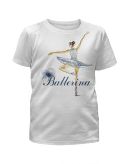"""Футболка с полной запечаткой для девочек """"Балерина"""" - цветы, девочки, акварель, балет"""