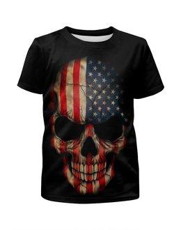 """Футболка с полной запечаткой для девочек """"Череп/Флаг США"""" - skull, череп, америка, usa, флаг"""