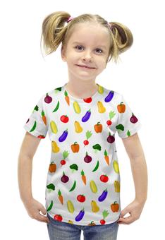 """Футболка с полной запечаткой для девочек """"ОВОЩИ"""" - арт, овощи, патерн"""