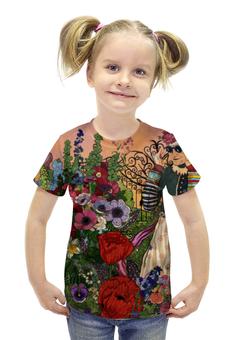 """Футболка с полной запечаткой для девочек """"Герда в волшебном саду"""" - цветы, сад, белявская, анемоны, герда"""