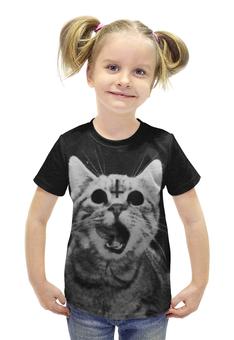 """Футболка с полной запечаткой для девочек """"Кот и крест"""" - кот, крест, коты"""