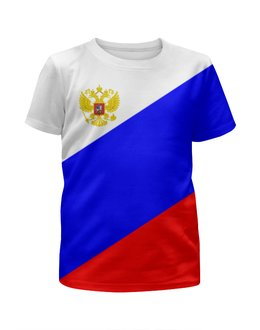 """Футболка с полной запечаткой для девочек """"Вперед,Россия"""" - россия, russia"""