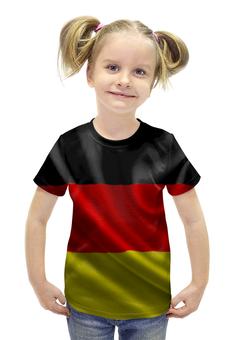 """Футболка с полной запечаткой для девочек """"Флаг Германии"""" - флаг, германия, germany"""