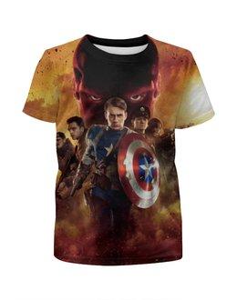 """Футболка с полной запечаткой для девочек """"Капитан Америка"""" - usa, комиксы, captain america, мститель"""