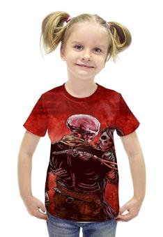 """Футболка с полной запечаткой для девочек """"скелеты со стволами """" - черепа, скелеты, стволы"""