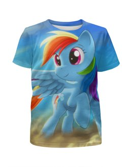 """Футболка с полной запечаткой для девочек """"Радуга Дэш"""" - rainbow dash, my little pony, friendship is magic, радуга дэш"""