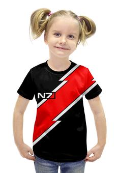 """Футболка с полной запечаткой для девочек """"N7 mass effect"""" - арт, mass effect, n7"""