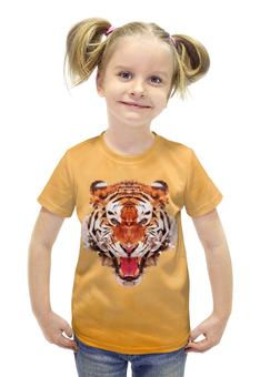 """Футболка с полной запечаткой для девочек """"Полигональный тигр"""" - арт, желтый, тигр, звери"""