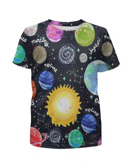 """Футболка с полной запечаткой для девочек """"Планеты"""" - галактика, созвездия, звезды, космос, планеты"""