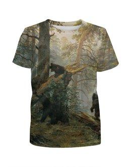 """Футболка с полной запечаткой для девочек """"Утро в сосновом лесу"""" - медведи, утро в сосновом лесу"""