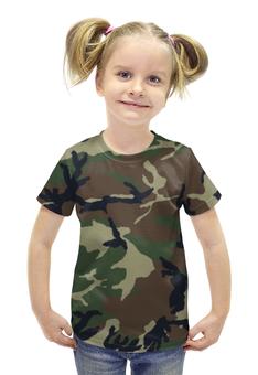 """Футболка с полной запечаткой для девочек """"Камуфляж"""" - армия, камуфляж, защита, camo, военный"""