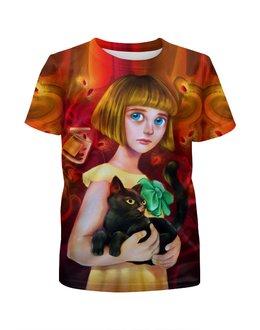 """Футболка с полной запечаткой для девочек """"Fran Bow """" - психоделика, мистика, компютерная игра, фрэн боу, девочка с кошкой"""