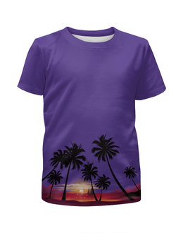 """Футболка с полной запечаткой для девочек """"Острова в океане"""" - море, закат, яхта, острова, пальмы"""