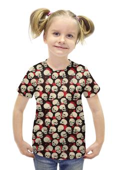 """Футболка с полной запечаткой для девочек """"Крупные Черепа"""" - skull, череп, черепа, кровь, blood"""
