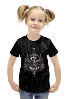 """Футболка с полной запечаткой для девочек """"Beast"""" - skull, череп, рок, rock"""