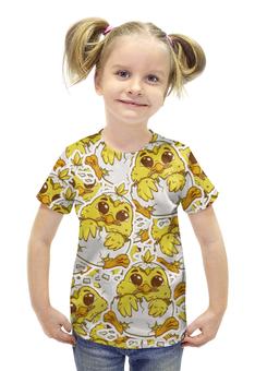 """Футболка с полной запечаткой для девочек """"Цыпленок"""" - персонаж, желтый, яйца, цыпленок"""
