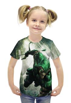 """Футболка с полной запечаткой для девочек """"Зелёная стрела"""" - супергерой, green arrow, зелёная стрела"""
