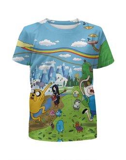 """Футболка с полной запечаткой для девочек """"Adventure time"""" - adventure time, время приключений, jake"""