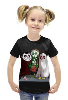 """Футболка с полной запечаткой для девочек """"Монстрики"""" - зомби, монстр, скелетон"""