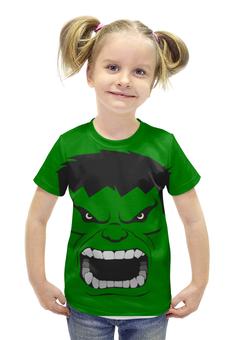 """Футболка с полной запечаткой для девочек """"Злой Халк"""" - злой, hulk, халк"""