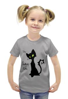 """Футболка с полной запечаткой для девочек """"Кот-анархист"""" - кот, юмор, рисунок, графика, анархист"""