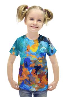 """Футболка с полной запечаткой для девочек """"""""Застывшие яркие краски"""""""" - оранжевый, голубой, разноцветный, художник, пестрый"""