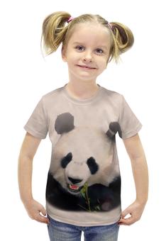 """Футболка с полной запечаткой для девочек """"Панда"""" - медведь, панда, китай, бело-черный, бамбуковый"""