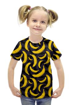"""Футболка с полной запечаткой для девочек """"Бананы"""" - бананы, banan"""