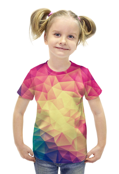 """Футболка с полной запечаткой для девочек """"Яркая геометрия"""" - стиль, яркие, геометрия, треугольники"""