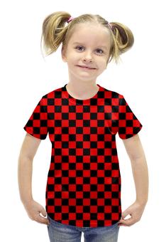 """Футболка с полной запечаткой для девочек """"ШАШЕЧКА"""" - арт, абстракция, кубы, шашка"""