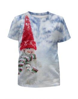 """Футболка с полной запечаткой для девочек """"Счастливый снеговик """" - новый год, зима, снег, рождество, снеговик"""